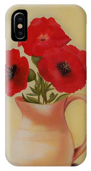 Red Flowers In Clay Pot IPhone Case