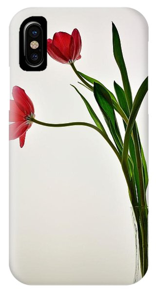 Red Flowers In Glass Vase IPhone Case