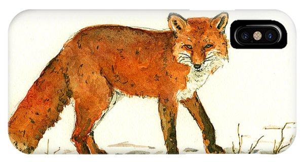 Fox iPhone Case - Red Fox In The Snow by Juan  Bosco