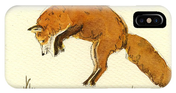Red Fox Jumping Phone Case by Juan  Bosco