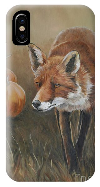 Red Fox With Pumpkins IPhone Case