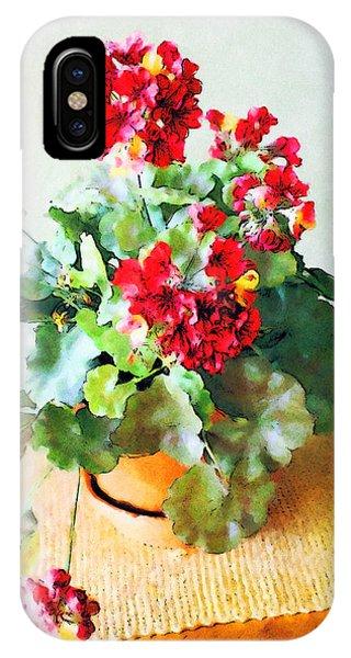 Red Geraniums IPhone Case