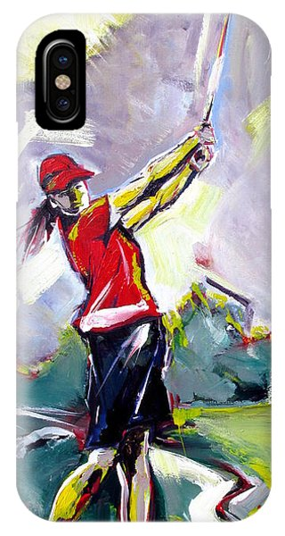 IPhone Case featuring the painting Red Golf Girl by John Jr Gholson