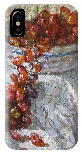 Grape iPhone X Case - Red Grapes by Ylli Haruni