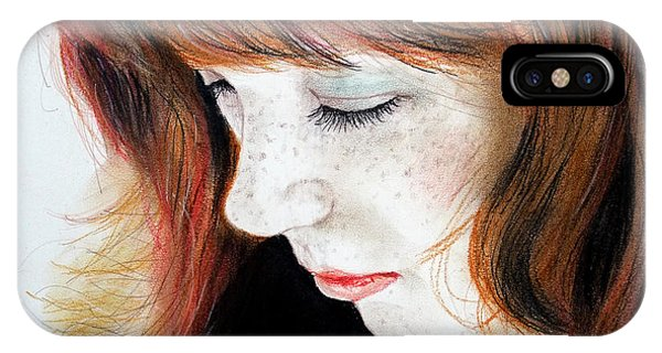 Leading Actress iPhone Case - Red Hair And Freckled Beauty II by Jim Fitzpatrick