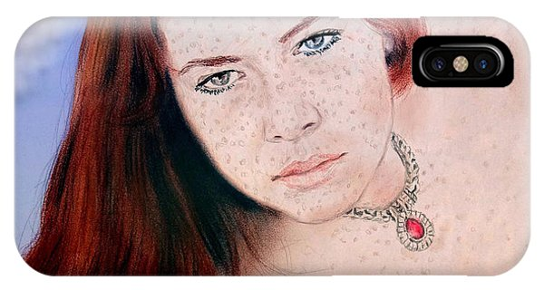 Leading Actress iPhone Case - Red Hair And Freckled Beauty Remake Nude Version II by Jim Fitzpatrick