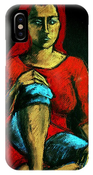 Blue Dress iPhone Case - Red Hair Woman by Mona Edulesco