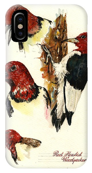 Red Headed Woodpecker Bird IPhone Case