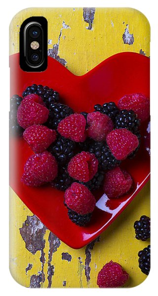 Red Heart Dish And Raspberries IPhone Case