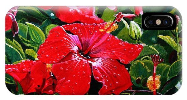 Hibiscus Flower iPhone Case - Red Hibiscus by Marionette Taboniar