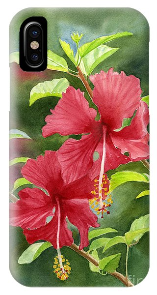 Hibiscus Flower iPhone Case - Red Hibiscus With Background by Sharon Freeman