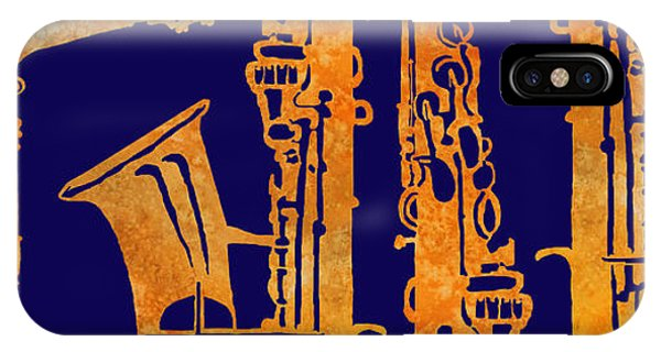 Saxophone iPhone Case - Red Hot Sax Keys by Jenny Armitage