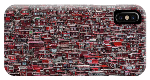 Repeat iPhone Case - Red Houses by Ali Al-jazeri