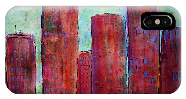 IPhone Case featuring the painting Red In The City by Jacqueline Athmann