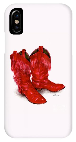 Red Leather Fringed Cowboy Boots IPhone Case