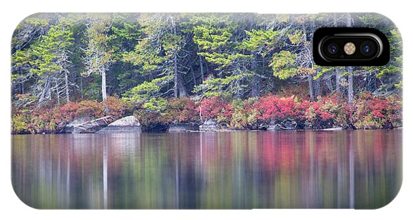 iPhone Case - Red Leaved Shrubs Dot A Shoreline by Robbie George