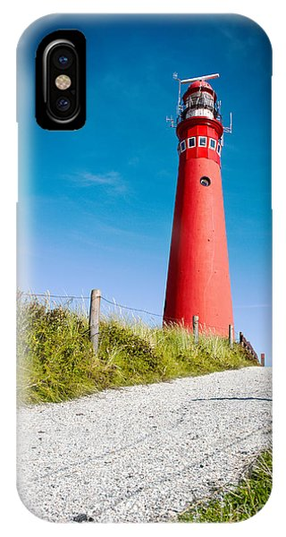 Red Lighthouse And Deep Blue Sky. IPhone Case