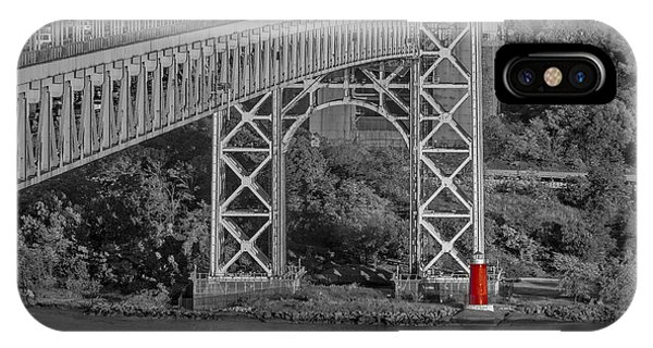 Red Lighthouse And Great Gray Bridge Bw IPhone Case