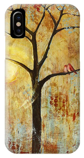 Sun iPhone Case - Red Love Birds In A Tree by Blenda Studio