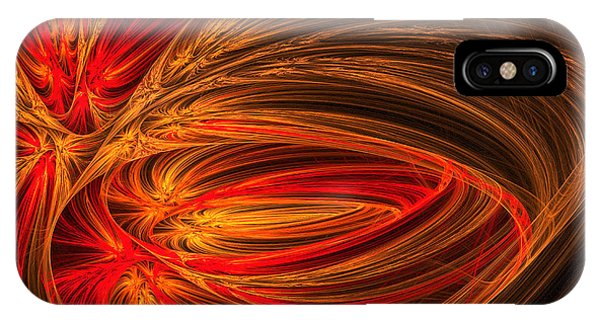Fractal iPhone X Case - Red Luminescence-fractal Art by Lourry Legarde