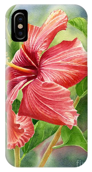 Hibiscus Flower iPhone Case - Red Orange Hibiscus With Background by Sharon Freeman
