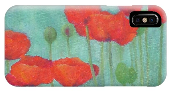 Red Poppies Colorful Poppy Flowers Original Art Floral Garden  IPhone Case