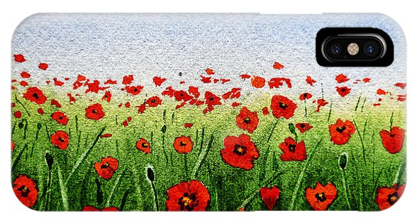 Red Poppies Green Field And A Blue Blue Sky IPhone Case