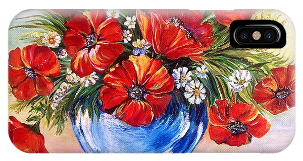 Red Poppies In Blue Vase IPhone Case