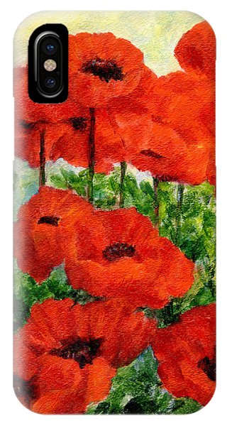 Red  Poppies In Shade Colorful Flowers Garden Art IPhone Case