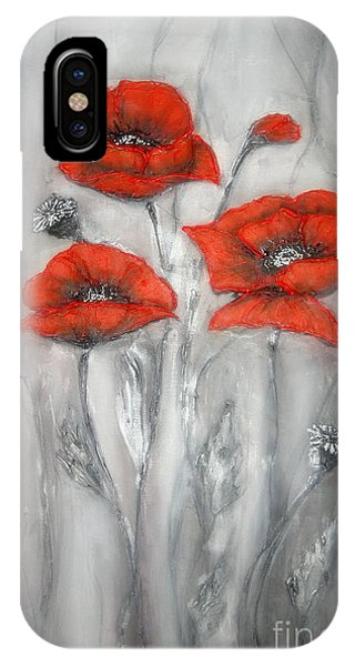 Red Poppies In Silver Dream IPhone Case