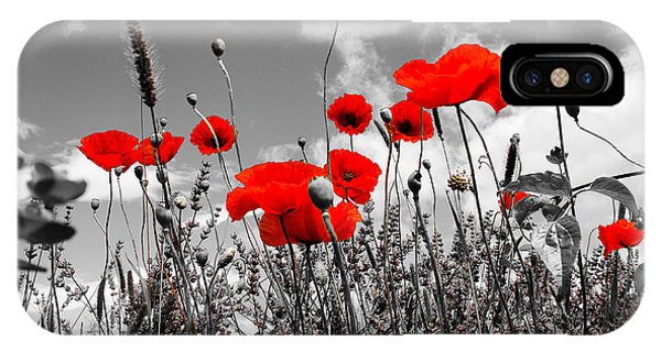 Red Poppies On Black And White Background IPhone Case