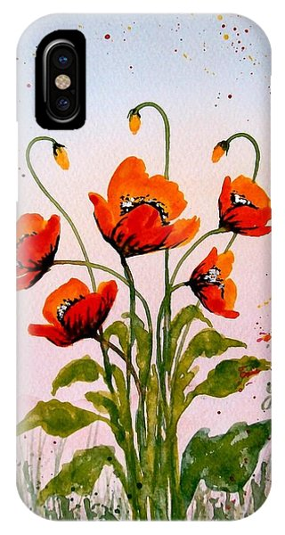 Red Poppies Original Watercolor  IPhone Case