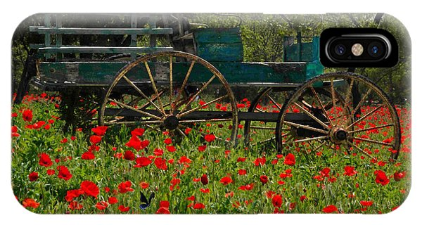 Red Poppies With Wagon IPhone Case