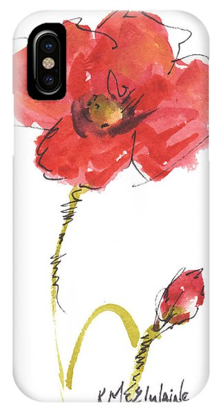 Red Poppy And Bud IPhone Case