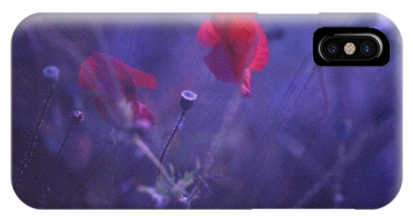Red Poppy In Blue Medium Format Analog Hasselblad Film Photo Phone Case by Edward Olive