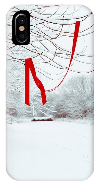 Left iPhone Case - Red Ribbon In Tree by Amanda Elwell