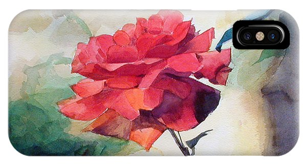 Watercolor Of A Single Red Rose On A Branch IPhone Case