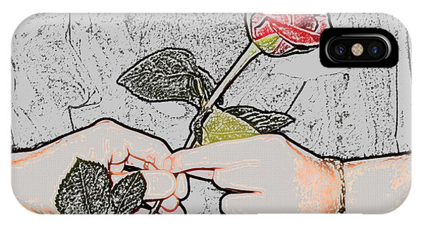 Red Rose Sketch By Jan Marvin Studios IPhone Case