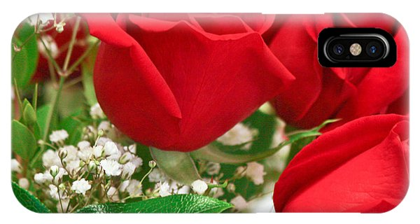 Red Roses With Baby's Breath IPhone Case