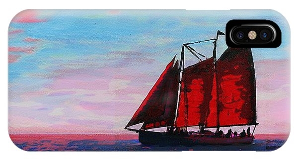 IPhone Case featuring the painting Red Sails On The Chesapeake by G Linsenmayer