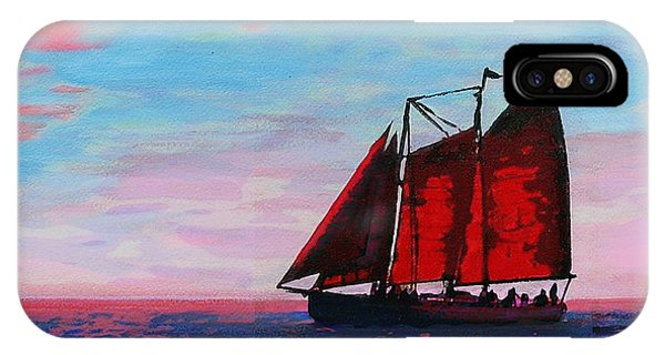Red Sails On The Chesapeake - New Multimedia Acrylic/oil Painting IPhone Case