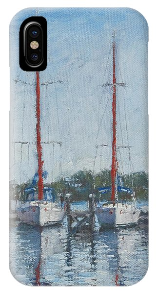 Red Sails Under Gray Sky IPhone Case