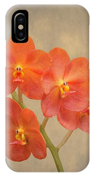 Red Scarlet Orchid On Grunge IPhone Case