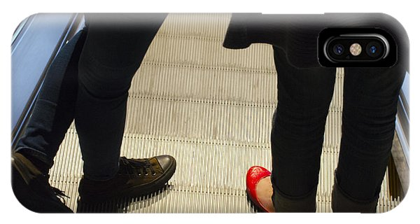 Red Shoe On Escalator IPhone Case
