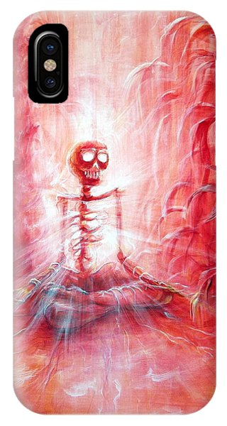 Red Skeleton Meditation IPhone Case