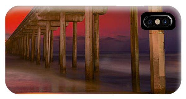 Scripps Pier iPhone Case - Red Sky Scripps by Marco Crupi