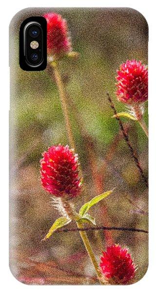 Red Spiky Flowers Phone Case by Karen Stephenson