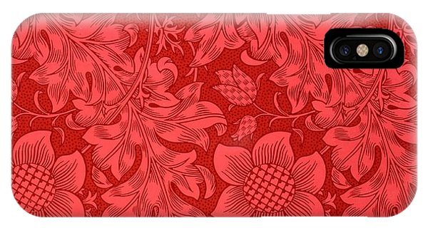 iPhone Case - Red Sunflower Wallpaper Design, 1879 by William Morris