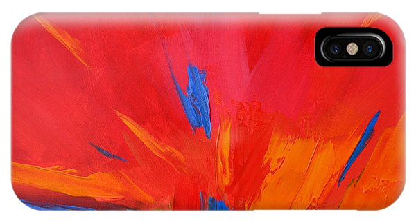 Red Sunset, Modern Abstract Art IPhone Case