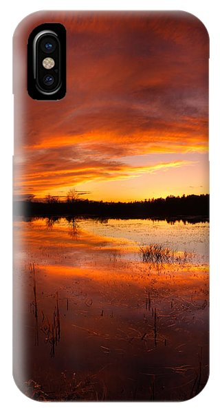 Red Sunset Over Massabesic Lake Phone Case by Sebastien Coursol